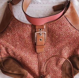 Coach Hampton Rose Tweed Pink/Salmon Shoulder Bag